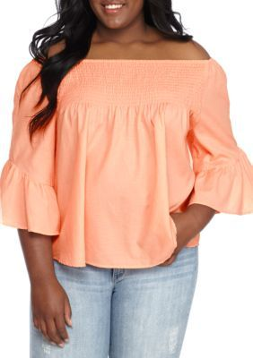 True Craft Girls' Plus Size Smock Off-The-Shoulder Peasant Top - Apricot Rub - 3X