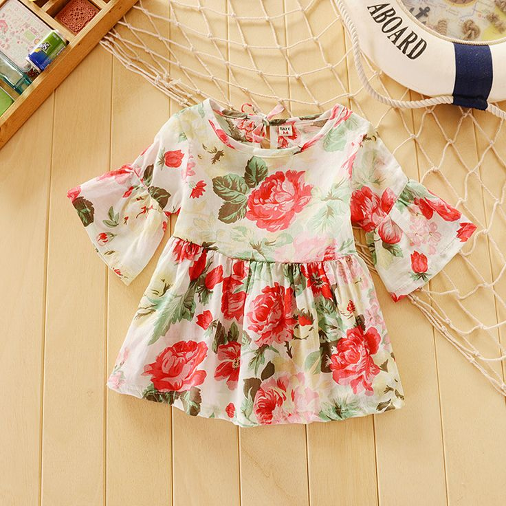 Cheap clothing, Buy Quality flower foam directly from China flower pear Suppliers: 	  	Wholesale Retail baby clothing girls summer retro shirts /blouses kids horn sleeve Wawa Shan infant  flowe