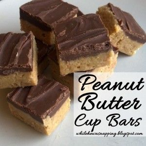 Peanut Butter Cup Bars. These taste like Reese's PB Cups, but are super simple to make. 4 ingredients you probably already have in your pantry and no-bake!