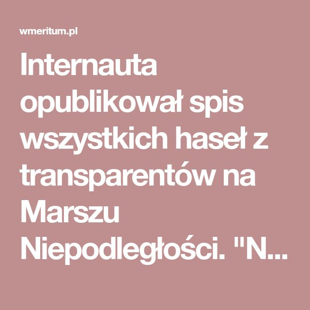 """Internauta opublikował spis wszystkich haseł z transparentów na Marszu Niepodległości. """"Niech każdy oceni sam""""   wMeritum.pl"""