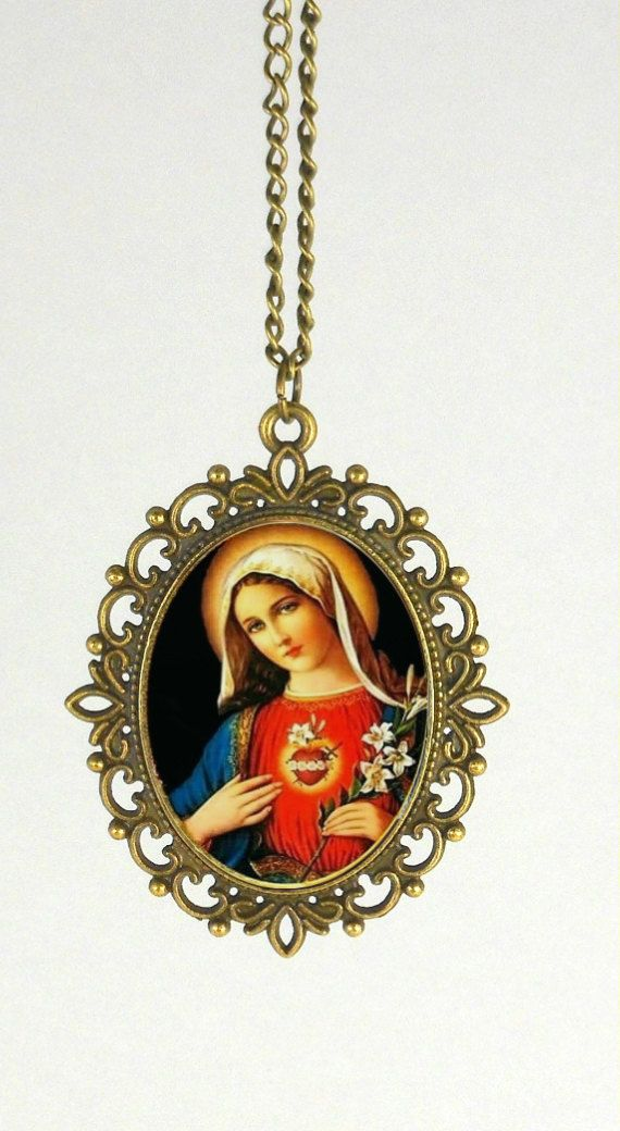 Mother Mary, Jesus Christ, Christian Gifts, #jewelry #necklace @EtsyMktgTool http://etsy.me/2vD0HrF