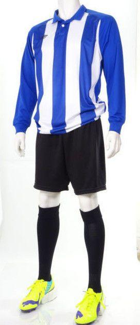 15 x Umbro Mens Football Team Kits Blue/White Stripes Long Sleeved (XL) #1