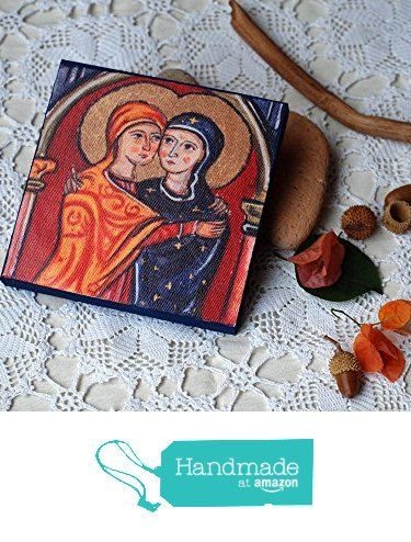 St Elisabeth and Holy mother- Visitation icon- canvas print on wood from Angelicon https://www.amazon.com/dp/B01N01K58V/ref=hnd_sw_r_pi_dp_7QQpybAVCXV79 #handmadeatamazon