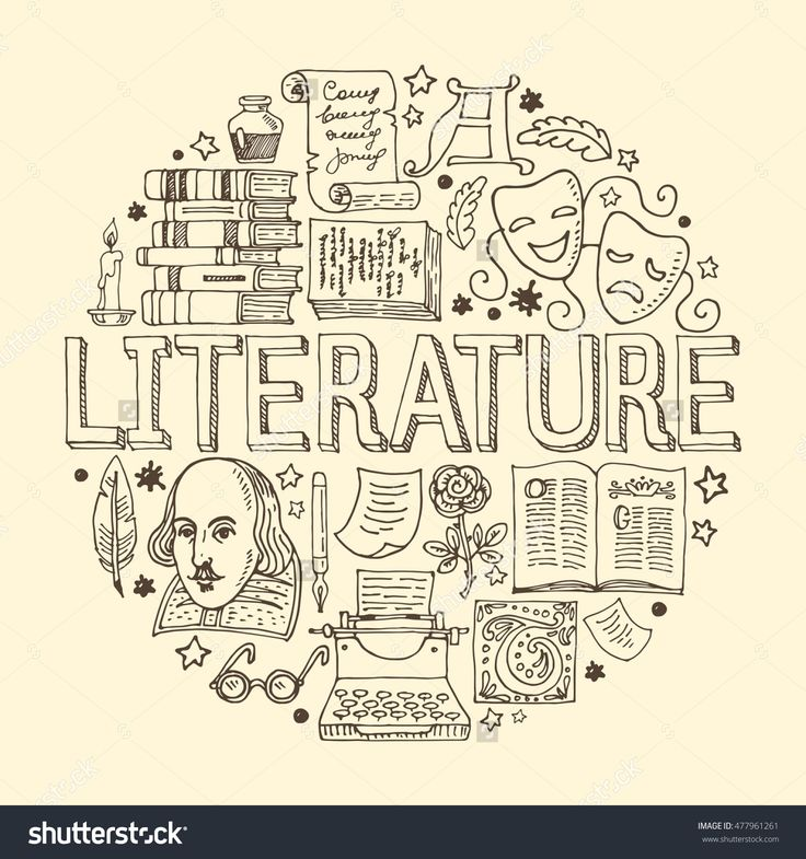 Literature hand drawn vector illustration with doodle icons, images and objects arranged in a circle