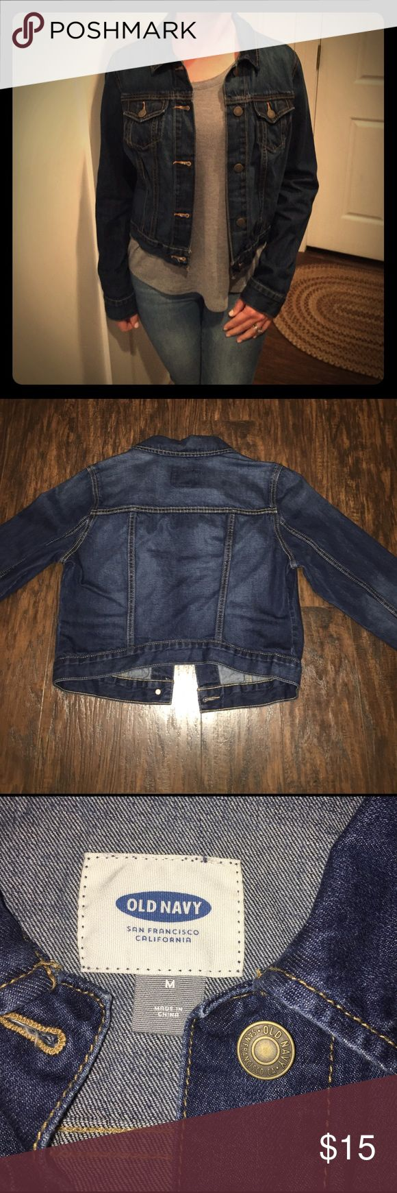 OLD NAVY JACKET Cropped denim jacket with full length sleeves and brass buttons Old Navy Jackets & Coats Jean Jackets