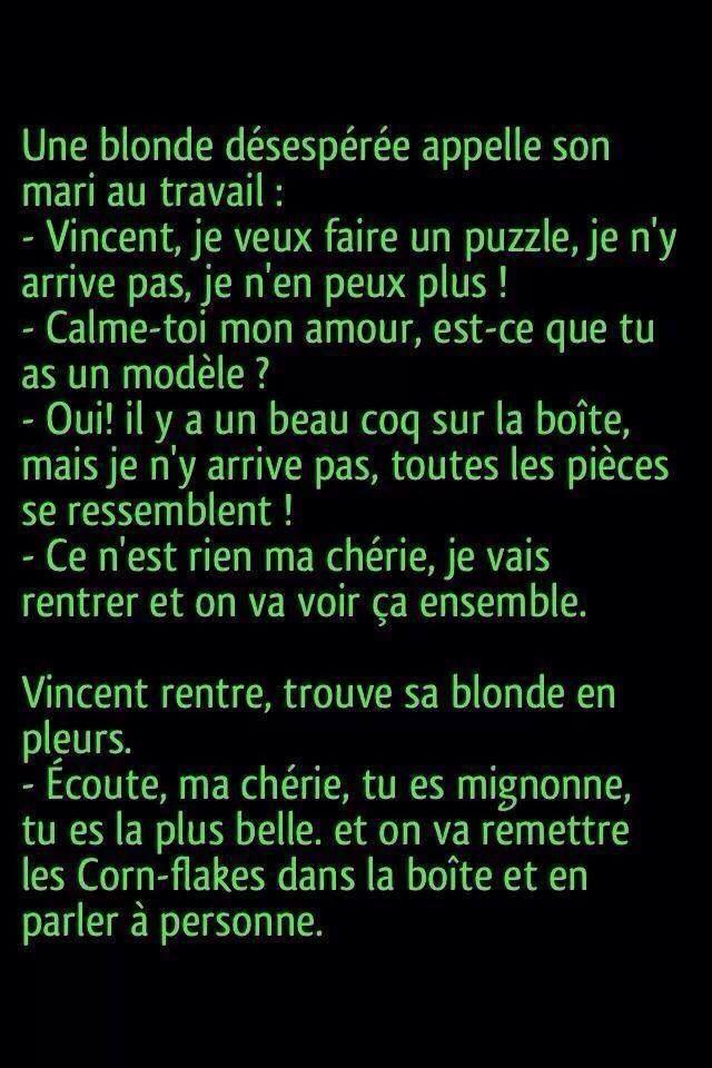 Blague de Blonde. #Citation #Humour #HistoireDrole #rire #Amour #ImageDrole #myfashionlove ♥myfashionlove.com♥