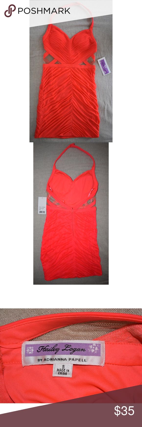 Coral Formal Dress with Mesh Detail Two brand new dresses with tags- S and XS, built in cups, fitted Hailey Logan Dresses Mini