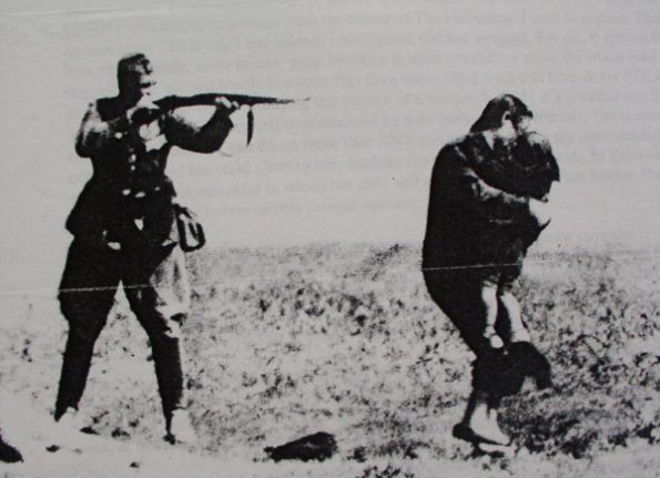 In one of the most infamous pictures of WWII, a member of the SS prepares to shoot a Jewish woman with her back to him, desperate to protect her child. A single bullet from his rifle was sufficient for both at such intimate range. Anecdotes say that the shooter - a Hungarian Auxiliary - was drunk when he did this, and upon sobering up, was so horrified at his deed that he committed suicide.