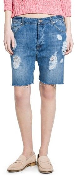 $19, Blue Ripped Denim Shorts: Mango Outlet Denim Bermuda Shorts. Sold by Mango. Click for more info: https://lookastic.com/women/shop_items/173352/redirect