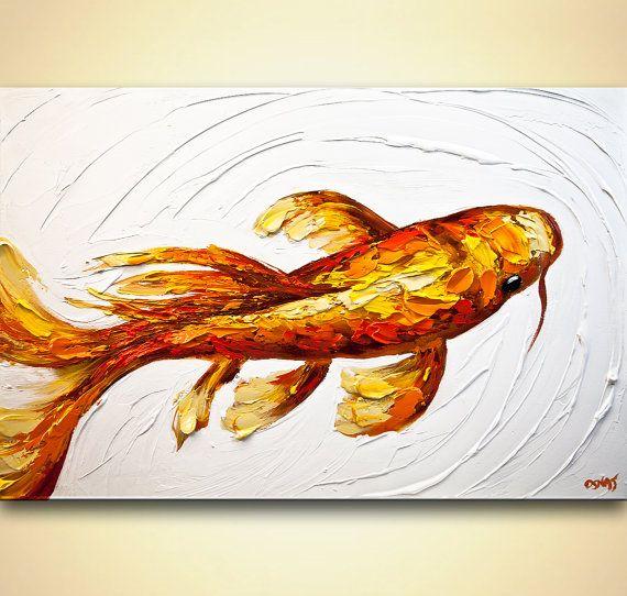 Modern Koi Fish Painting on Canvas Orange Koi Fish by OsnatFineArt