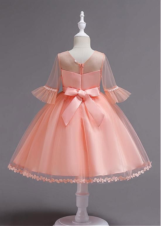 [22.99] In Stock Glamorous Lace & Tulle Jewel Neckline Ball Gown Flower Girl Dress With Handmade Flowers – Chinenye