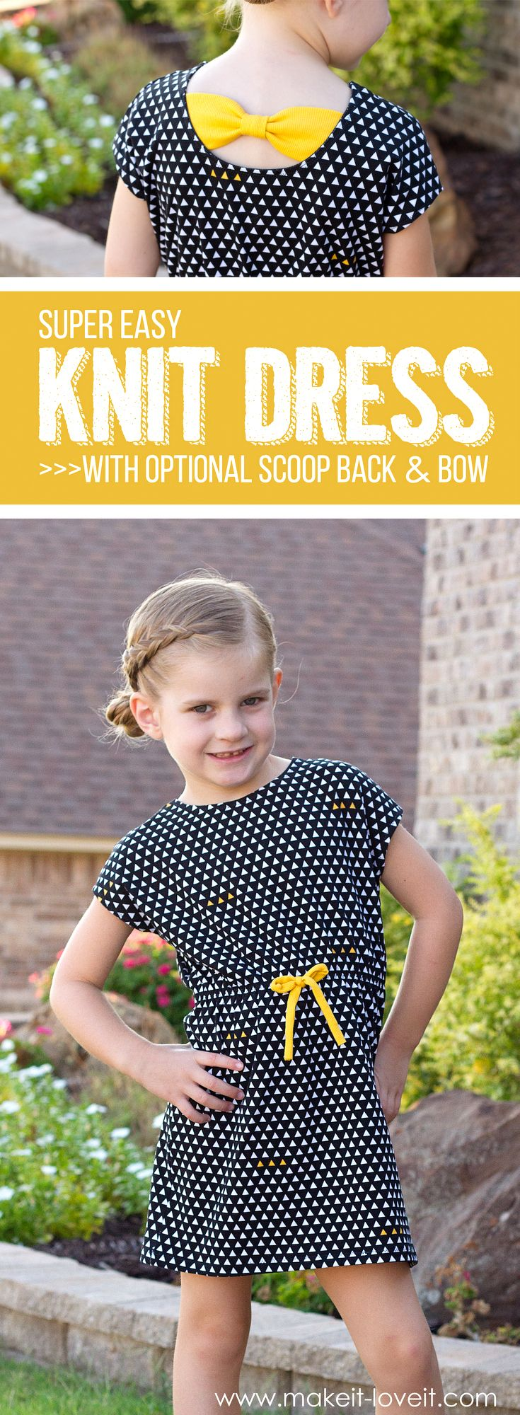 Super Easy Knit Dress...with optional Scoop-Back and Bow!   via www.makeit-loveit.com