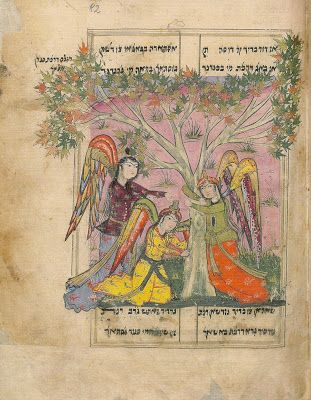 Angels uproot trees in Ahashverosh's garden. Shahin, Ardashir-nameh, Persia, 2nd half of the 17th century (Berlin, Staatbibliothek Preussischer Kulturbesitz).