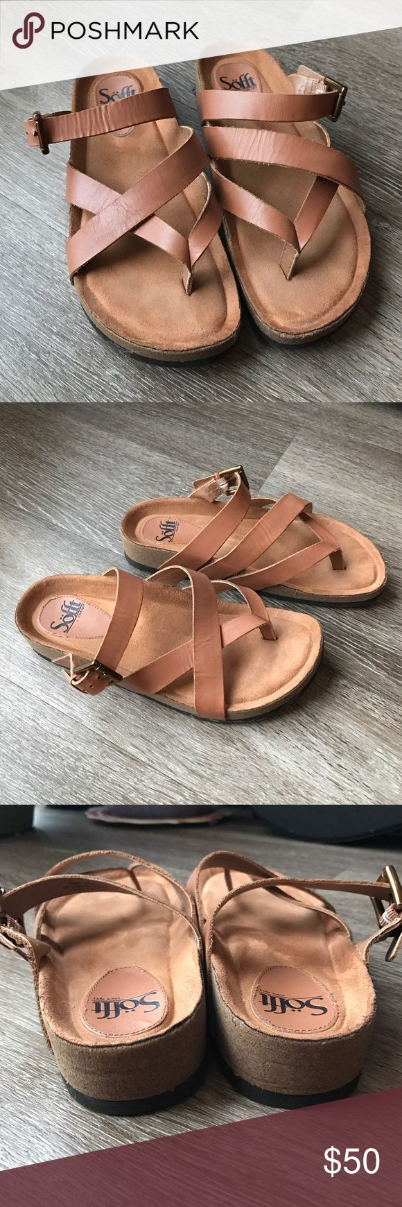 Sofft camel leather sandals These Sofft brand sandals are like birkenstocks only way cushier and softer! Great molded footbed with very soft insoles. Tan camel color leather. Size 8M Sofft Shoes Sandals