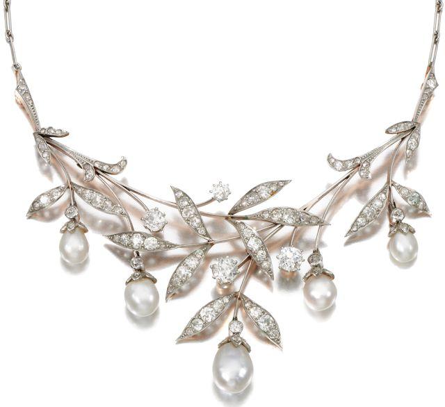 Art Nouveau pearl and diamond necklace.