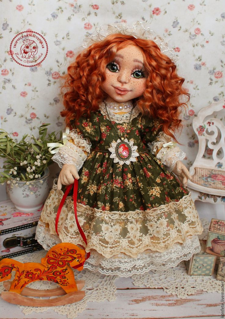 Купить Кукла Алисия текстильная интерьерная с объемным личиком - подарок девушке, ярко-красный, кукла
