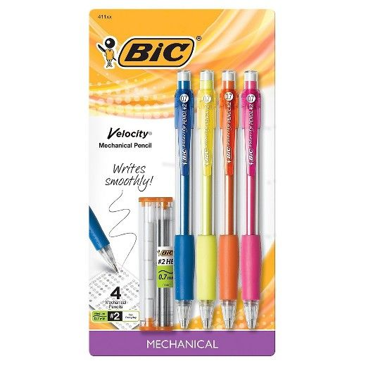 Always ready, sharp, and accurate, trust the Bic Velocity Mechanical Pencil 0.7mm 4-pack. Bics are the #1 best selling mechanical pencils because they are reliable and sturdy. Complete with a comfort grip and fun colors, the Bic mechanical pencils are built to survive tough tests and essays. Stash a few at home and a few at work so you never run out. Ages 10 and up.