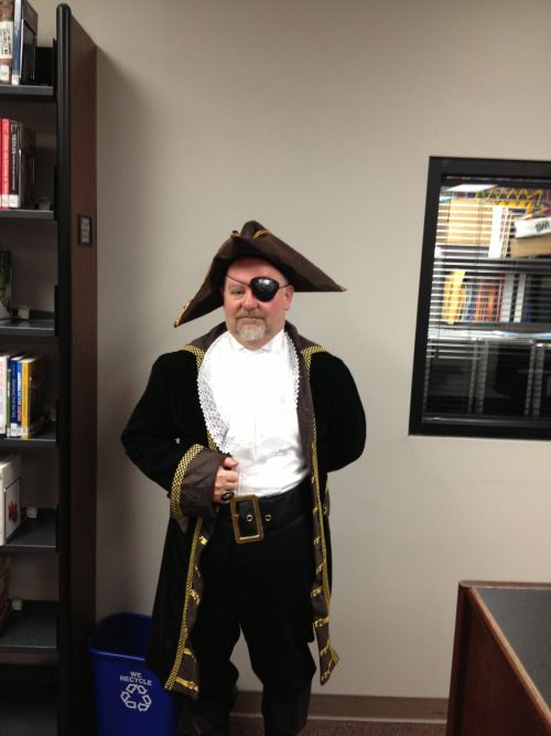 """This is Wendell Barnett on Halloween as a """"pirate who doesn't do anything.""""  He works at the Sullivan University Library and Learning Resource center in Lexington, KY as the collection development and social media librarian."""