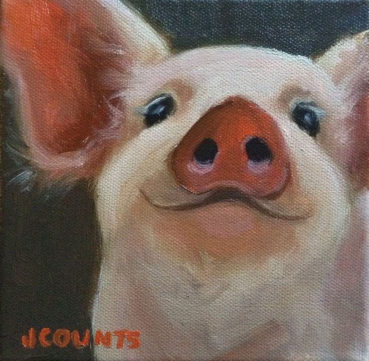 """PIG ART CUTE ANIMAL SMALL OIL PAINTING FARM ANIMALS PIGLET HOME RESTAURANT KITCHEN DECOR GIFT IDEA """"Prudence"""" Oil on Canvas 6""""x6"""""""