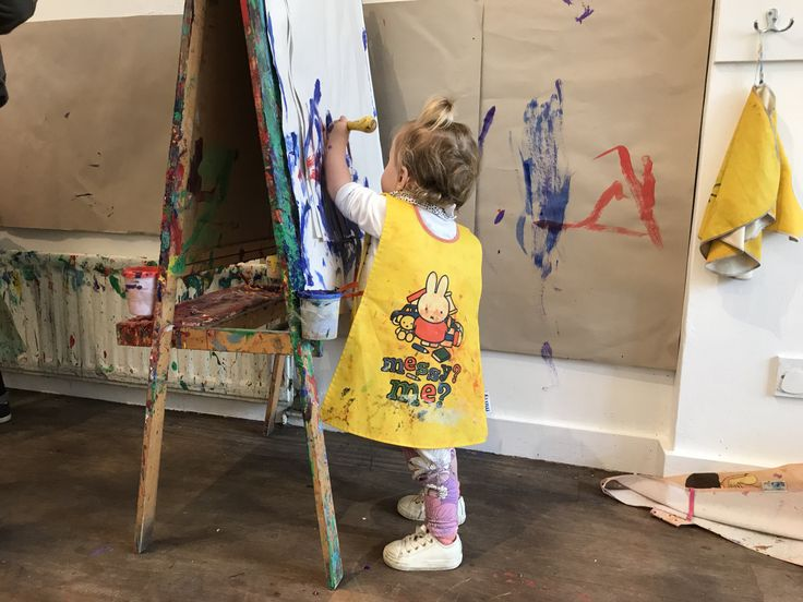 Liberate their inner Jackson Pollock at a Mini Picassos toddler art session, Kensal Rise, London. After a lot of running around brandishing her painty weapons, Bab thankfully decided against a dirty protest.