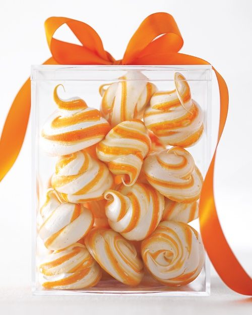 "Meringue Swirls - Martha Stewart Recipes. These are ""creamsicle"", with orange zest. Try with tangerine. You could also make red or green swirls with peppermint for Christmas."