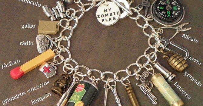 Prepare-se para o apocalipse zumbi! Com essa pulseira não dá para esquecer nenhum item necessário para sobrevivência, é como se fosse uma l...