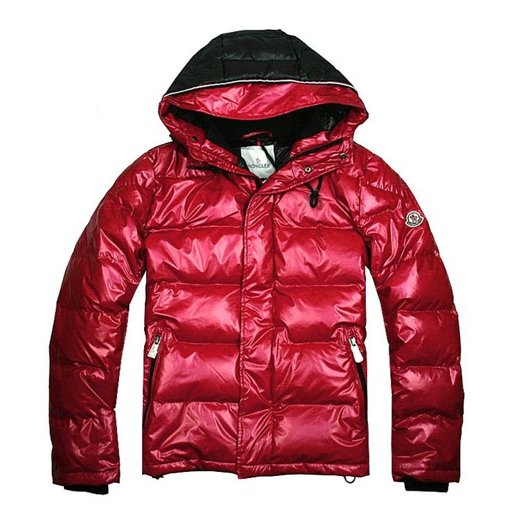 Mens Moncler Down Jacket Zip pockets Wine Red [2900089] - 164.09 :
