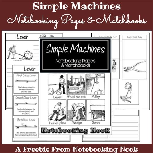 FREE Simple Machines Notebooking Pages & Matchbooks