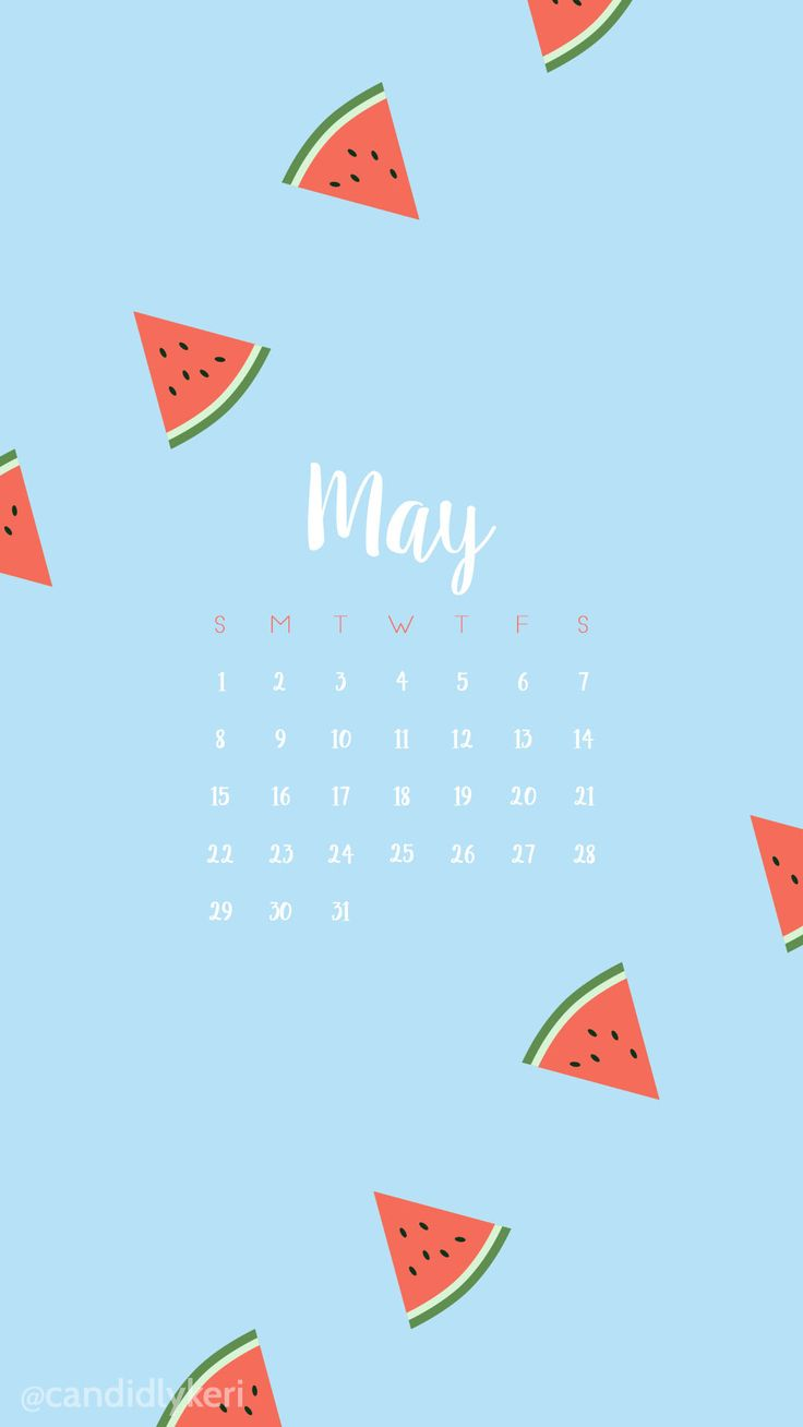 Blue and watermelon may 2016 calendar wallpaper free download for iPhone android or desktop background on the blog!