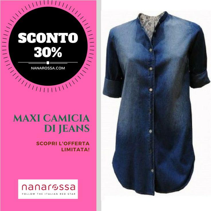 Il denim è sempre un must have. Eccolo attualizzato nella Maxi Camicia di Jeans. In sconto al 30% fino al 20/5! https://www.nanarossa.com/it/private-sale/24576-maxy-camicia-di-jeans-donna-zimo-manica-a-tre-quarti.html