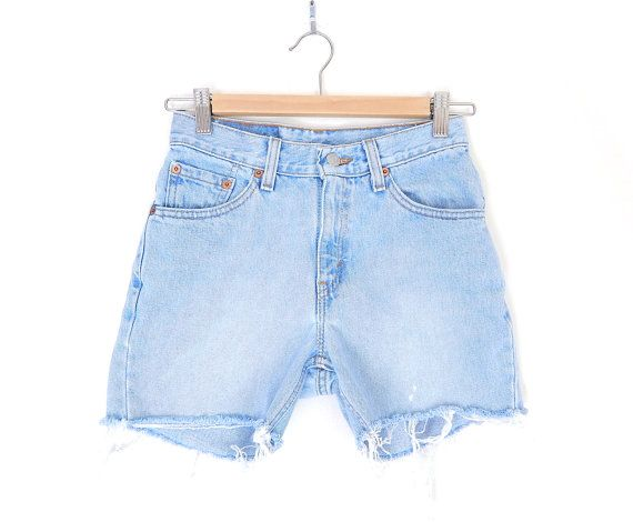 Sz 0/1 Vintage Levis 517 Mid Rise Denim Cutoff Jean Shorts - 1990s Faded Stone Washed Light Blue Women's Tight Levis Shorts - 26 Waist