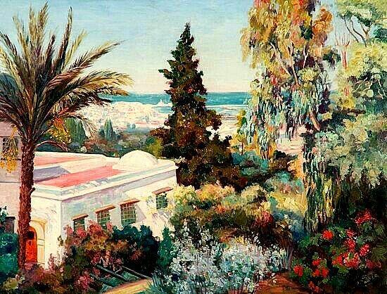 Peinture d'Algérie - Peintre Français, S. BERNOL (XIX-XX), Huile sur toile, Titre: Baie d'Alger vue de la villa Abd-Al-Tif
