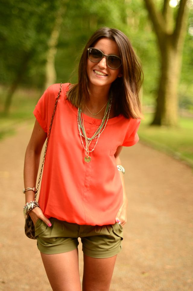 Find This Pin And More On Playing Dress Up By Nicurnmama Contrast Bright Coral With Army Green