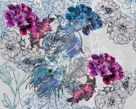 No tiles in your bathroom but ;stunning waterproof floral ;wallpaper MUSTICAL DREAM ;of the new WET collection of Wall & Deco from Italy. Available in 2 colours.Rolls of 94 cm.