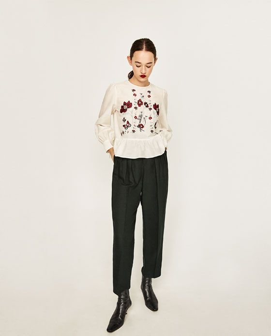 Image 1 of FLORAL EMBROIDERED BLOUSE from Zara