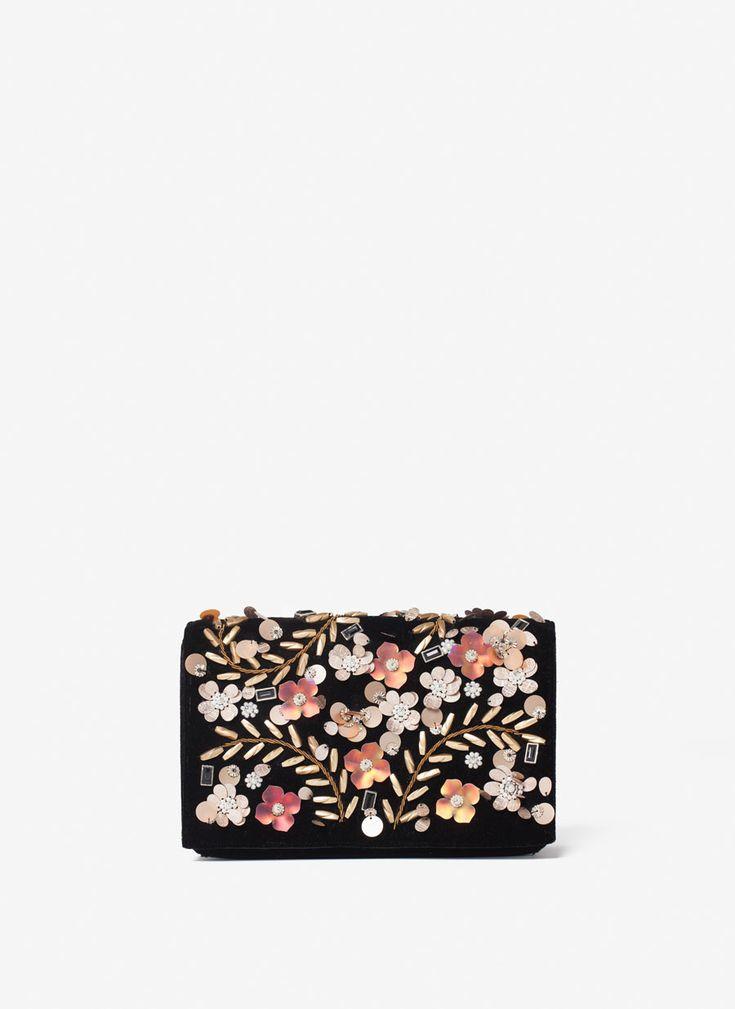 Сумка из бархата с деталями в виде цветов - Вечерние сумки - Сумки - Uterqüe Russia
