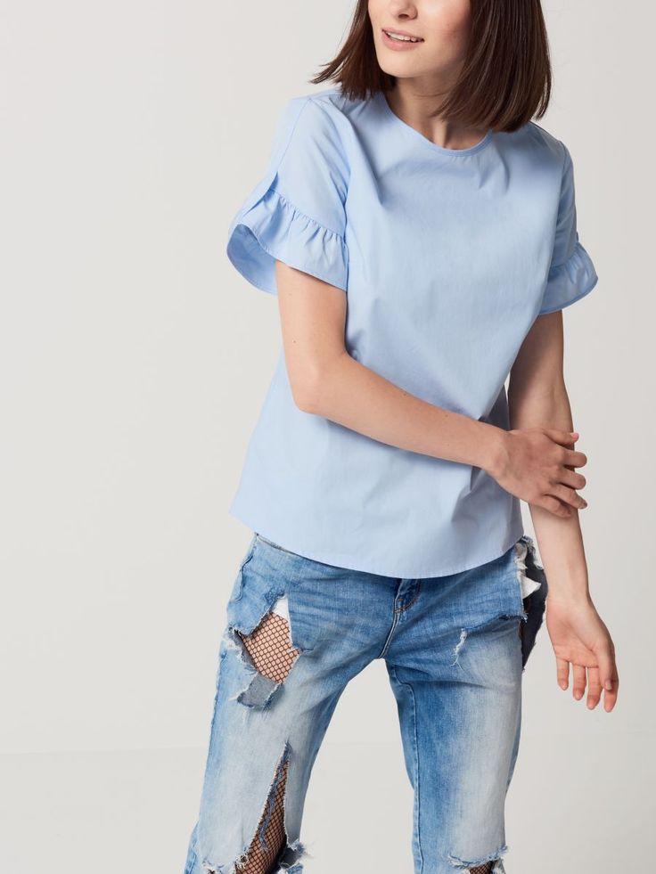 Koszula z rękawem wykończonym falbaną, MOHITO, RS165-05X