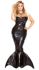 Plus Size Mistress Mermaid Costume, Plus Size Sexy Mermaid Costume, Plus Size Black Mermaid Costume