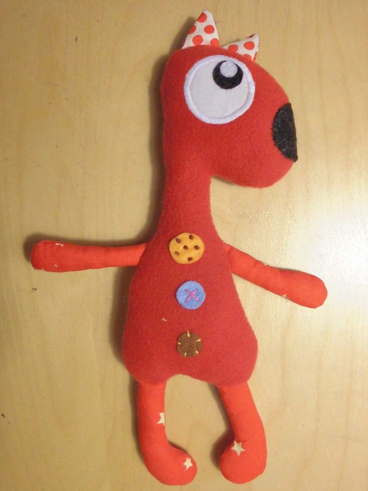 Peluche loup rouge  - polaire tissus