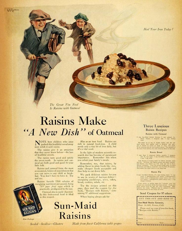 Image detail for -... Sun Maid Raisins Recipes Pie Bread Oatmeal Breakfast Schoolboys Fresno