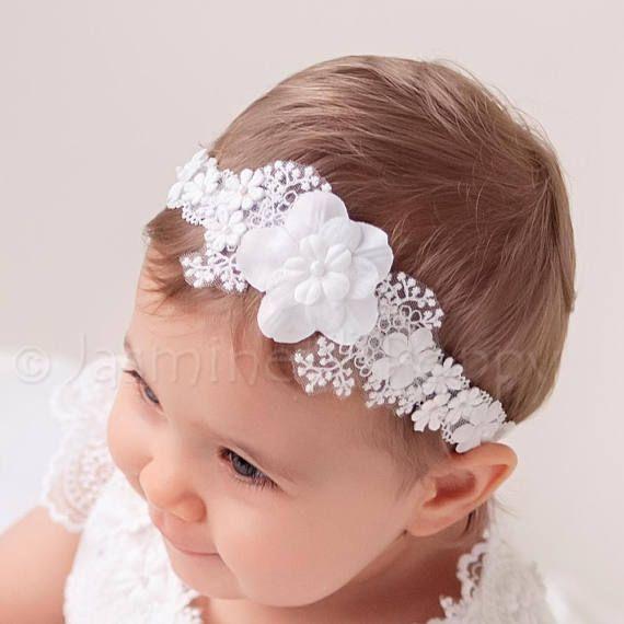 Baby Girl Off White Christening Headband Baptism Wedding Flower Hairband Pearl
