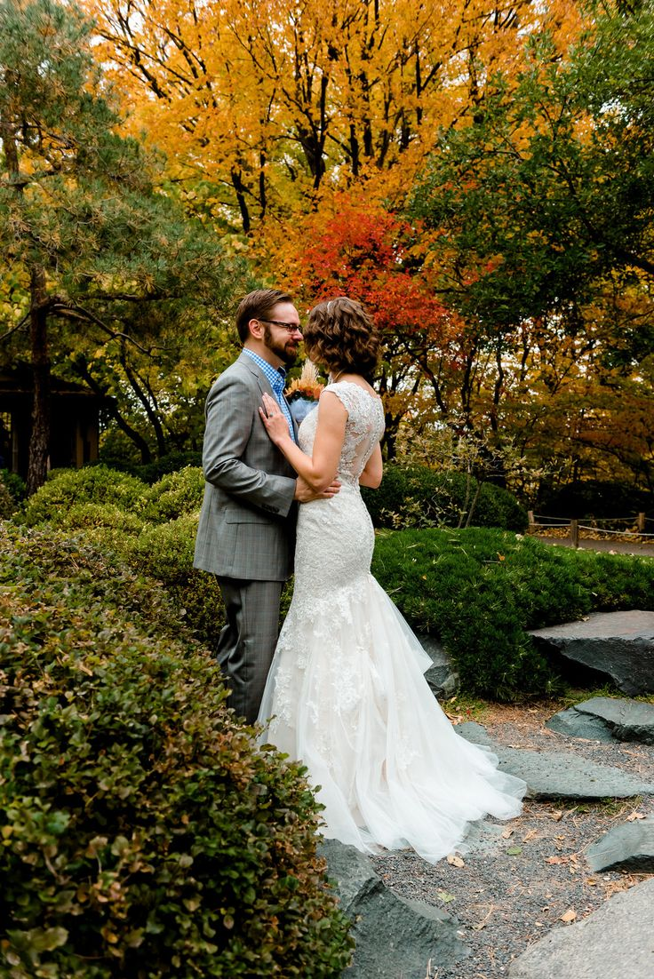 outdoor wedding venues minneapolis%0A Bride and Groom first look at the Japanese Gardens  fall wedding at MN  Landscape Arboretum