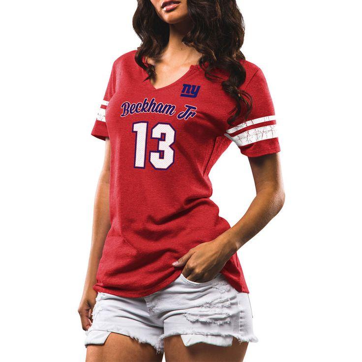 Odell Beckham Jr New York Giants Majestic Women's My Guy Name & Number Tri-Blend V-Neck T-Shirt - Red