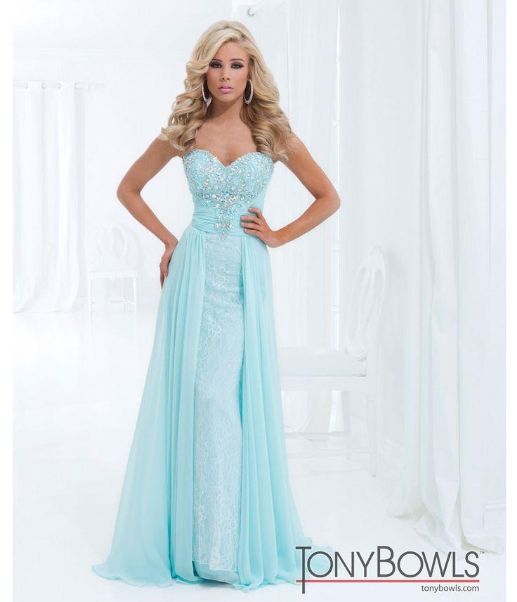 Tony Bowls 2014 Prom Dresses - Ice Blue Rhinestone & Lace Strapless Chiffon Gown - Unique Vintage - Prom dresses, retro dresses, retro swimsuits.