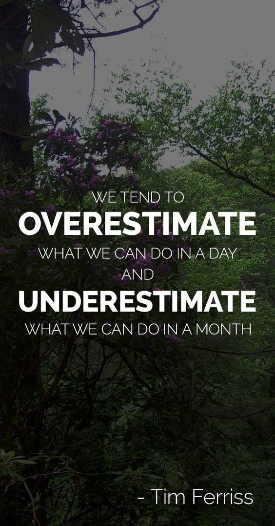 Tim Ferriss Quotes - We tend to Overestimate.......