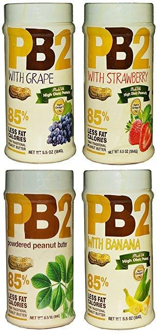 PB2 Powdered Peanut Butter with Fruit 6.5 Ounce Jars (4 Pack - 1 of Each)