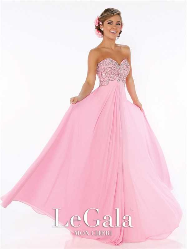 Mon Cheri 116566 Pink Beaded Long Empire Formal Prom Dresses Discount