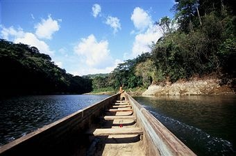 Pirogue On The Rio Chagres, Chagres National Park In Panama
