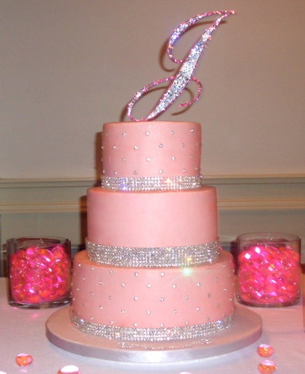 40th Birthday Cake-my cousin would LOVE the glitz! Add the number 40 to the top in crystals