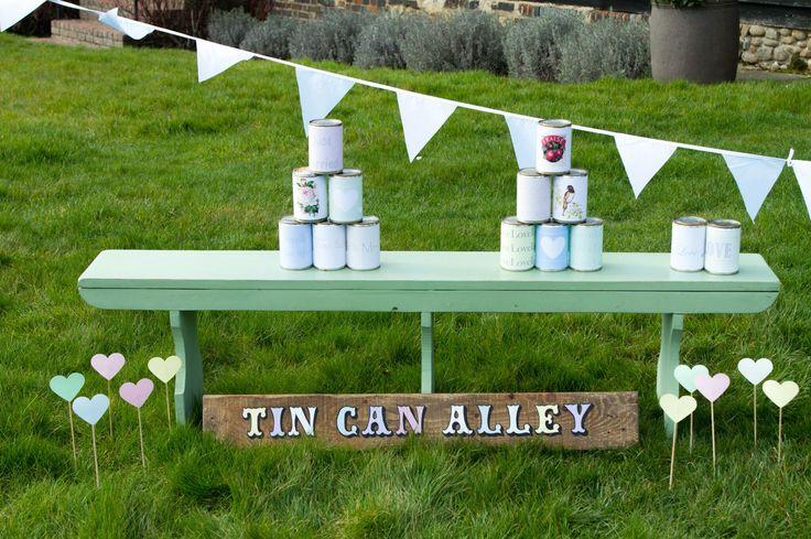 Wedding garden games hire- tin can alley. Wedding fete games